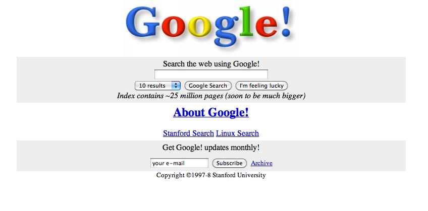 Imagem do buscador Google em 1996.