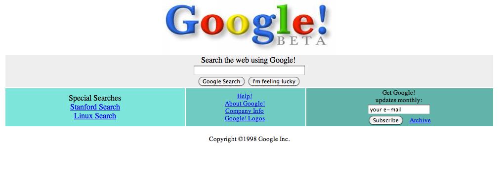 Imagem do sistema de busca Google em 1998, ainda em versão beta.