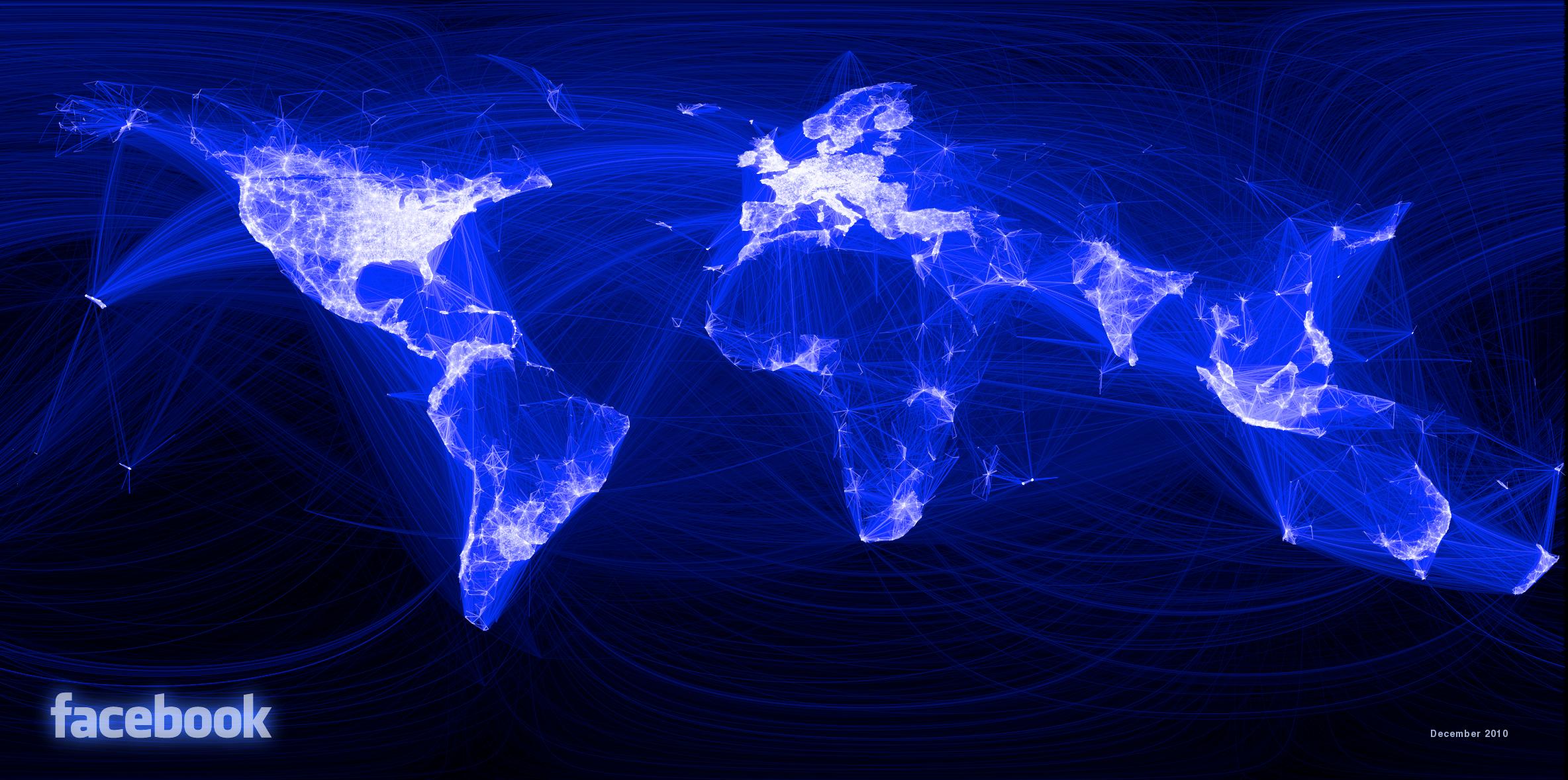 mapa dos usuários do facebook no mundo