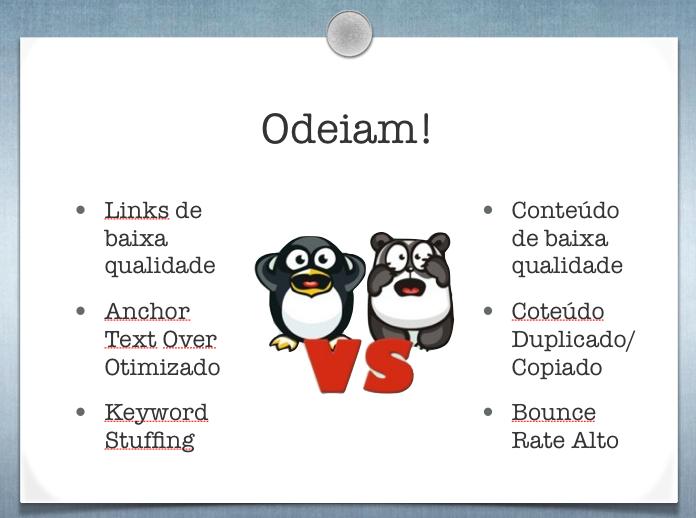 Características das atualizações do Google Panda e Pinguim