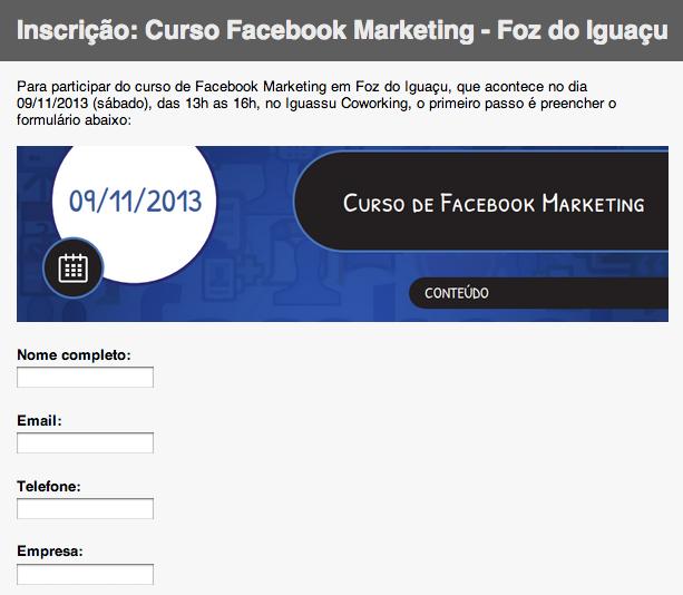 Inscrição curso Facebook Marketing
