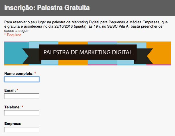 inscrição palestra marketing digital